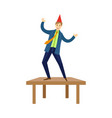 happy man dancing on office at corporate party vector image