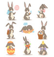 happy rabbit cartoon character cheerful mammal vector image
