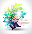 invitation card with colored floral ornament vector image