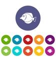 Tang fish Zebrasoma flavescens set icons vector image