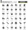 black classic web drinks icons set vector image