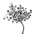 Stylized black tree with circles and butterflies vector image
