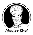 a chef in a cap black and white vector image