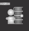 black and white style icon of schoolboy books vector image