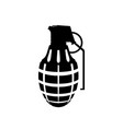 black silhouette of hand grenade army explosive vector image