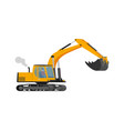 closeup orange construction excavator with big vector image