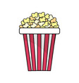 delicious and salty popcorn to eat in the cinema vector image