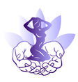 Little woman sitting in the mens hands vector image