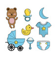 set baby shower boy tools elements vector image