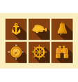 set of icons of sea subject in flat style vector image