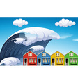 Tsunami with big waves over houses vector image