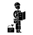 worker with plan and tools icon vector image