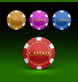 casino chips color set color vector image
