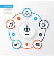 multimedia icons set collection of instrument vector image