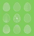 set of linear minimal easter egg art on green vector image