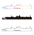 Florence skyline linear style with rainbow vector image vector image