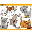 happy cats cartoon set vector image vector image