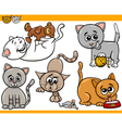 happy cats cartoon set vector image