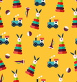 Pattern with kid toys vector image