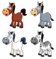 Cartoon horse set vector image