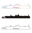 Florence skyline linear style with rainbow vector image