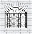 Iron fence black with white bricks vector image