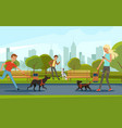 people walking with dogs in urban park vector image