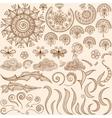 set Henna mehndi doodle design elements vector image