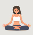 young girl yoga posing vector image