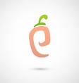 Peach Icon - alphabet shape P vector image