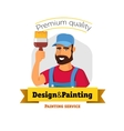 Smiling painter is holding brush Painting service vector image