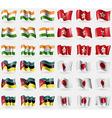 India Hong Kong Mozambique Japan Set of 36 flags vector image