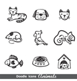 Doodles icons with animals vector image
