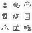 Call center servise set icons phone assistance and vector image