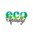 ECO friendly hand drawn watercolor logo vector image