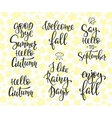 Hello Fall Autumn Rainy Days set vector image