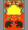 indian frame with birds elephant and flowers vector image