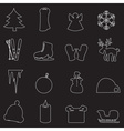 simple white winter outline icons set eps10 vector image