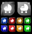 baby pram icon sign Set of ten colorful buttons vector image
