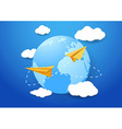 Travel background with airplanes and earth vector image vector image