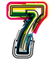 Colorful Grunge font NUMBER 7 vector image