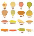 airship balloons icons set cartoon style vector image