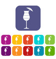layered cocktail with umbrella icons set vector image