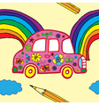 floral car pattern vector image vector image