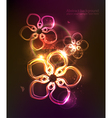 dark background with glowing floral ornament vector image vector image