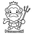 black and white sea and the water god poseidon vector image