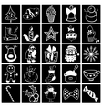 Christmas black-white icon set vector image