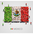 large group of people in the shape of mexican flag vector image