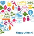 Background with winter objects Merry Christmas vector image vector image