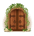 Wooden door with ivy vector image